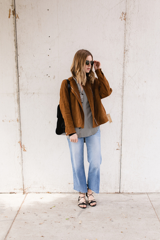 take aim blogger jacket shirt jeans shoes sunglasses frayed denim suede jacket casual strappy flats