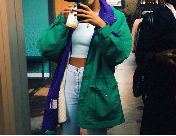 jacket green jacket green purple dope cute outfit crop top coffee girl starbucks coffee jeans swag teenagers fashion style pinterest coat