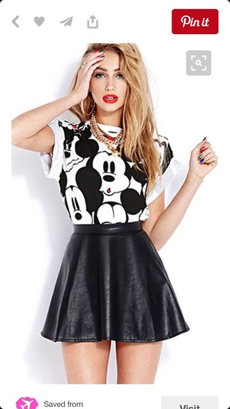 shirt mickey mouse leather skirt