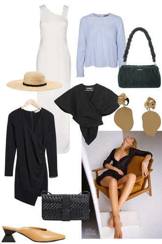 teetharejade blogger dress blouse bag hat jewels top shoes black bag black dress white dress earrings straw hat spring outfits