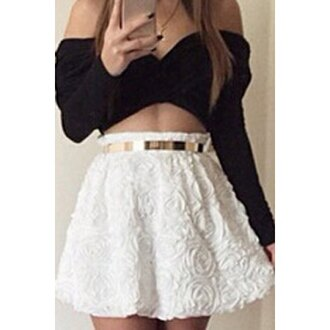 dress black and white skirt top two piece dress set cute girly trendy rose wholesale-feb
