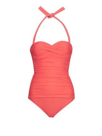 bandeau swimsuit coral swimwear