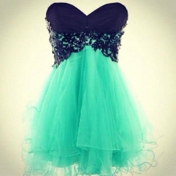 prom dress teal dress dress blue black lace black lace mint black bodice