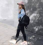 bag,tumblr,black backpack,backpack,denim,black jeans,sneakers,white sneakers,top,crop tops,grey top,cap,sporty,sporty chic,pink baseball hat