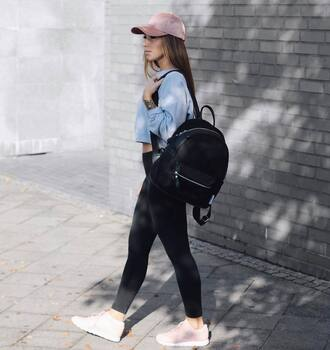 bag tumblr black backpack backpack denim black jeans sneakers white sneakers top crop tops grey top cap sporty sporty chic pink baseball hat