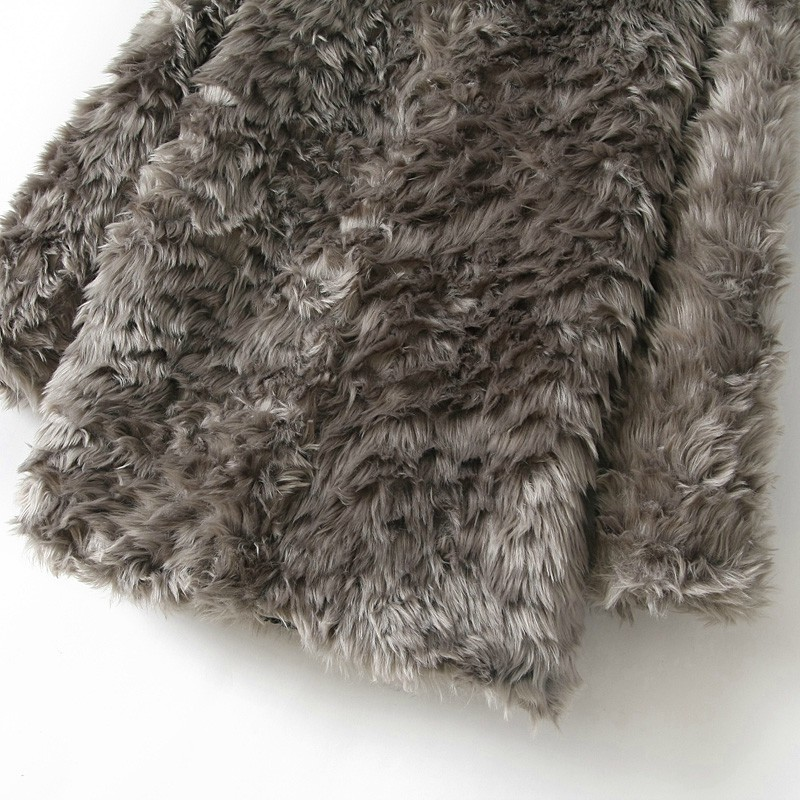 Grey Long Sleeve Zipper Faux Fur Coat - Sheinside.com
