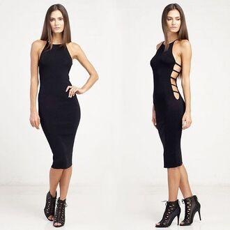 dress black dress little black dress halter top dress cut-out dress black bodycon dress sexy dress angl bodycon dress midi length dress
