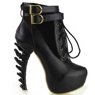 Amazon.com: Show Story Lace Up Buckle High-top Bone High Heel Platform Ankle Boots,LF40601: Shoes