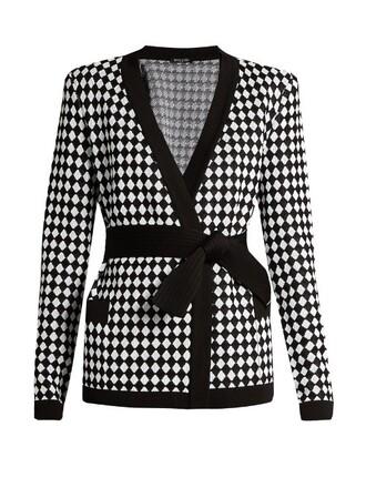 cardigan knit white black sweater