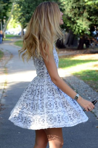 dress white mini blue sleevless young free boho