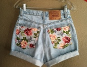 shorts,floral,jeans,short,flowers,high,waist,levi's,High waisted shorts,high waisted denim shorts,flowered shorts,high waisted levi's shorts,levi's shorts,denim,floralshorts,denim shorts,cute,cute shorts,fashion,light denim,brand short,blue blonde denim shorts,levi's high wasted shorts floral back pockets,blue jean shorts