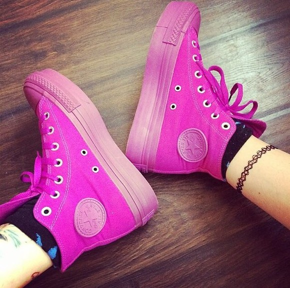 pink shoes bright pink fuschia converse converse high tops converse all star flatforms wedge sneakers