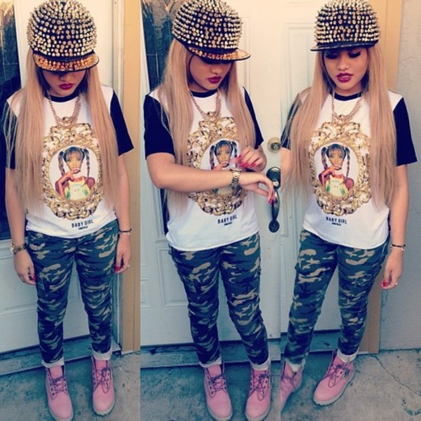shirt snapback camouflage jeans boots pants hat tyra banks timberlands