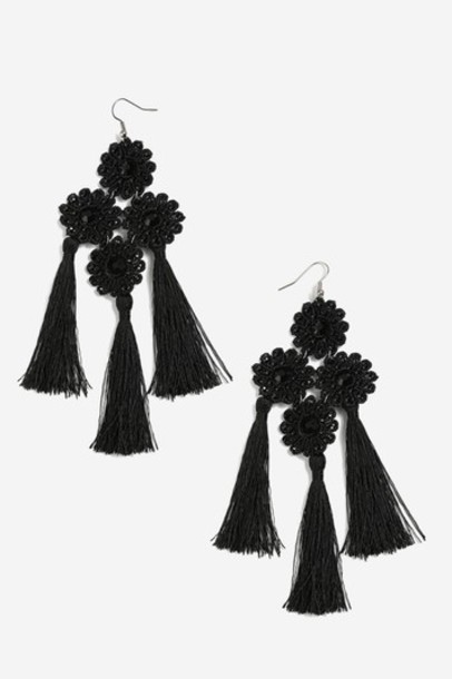 Topshop tassel earrings black jewels
