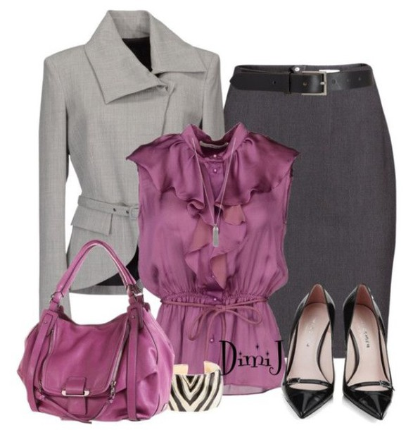 bag top shoes skirt jacket