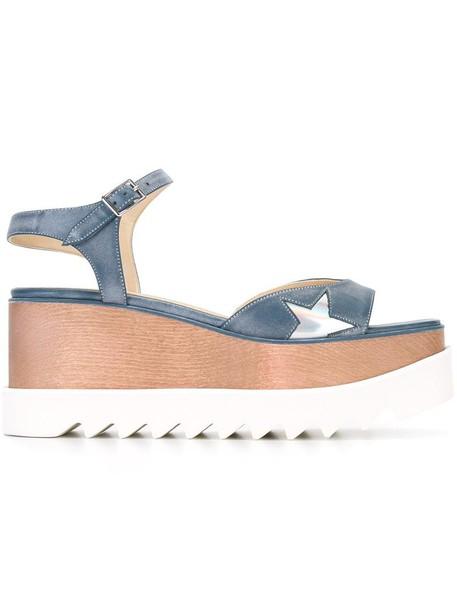 wood women sandals blue shoes
