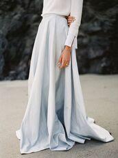 skirt,tumblr,maxi skirt,blue skirt,blue maxi skirt,light blue,ring,baby blue,white blouse
