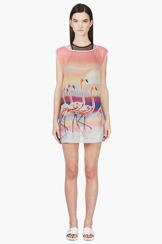shift pink chiffon silk flamingo bahamas clothes women shirt blouse
