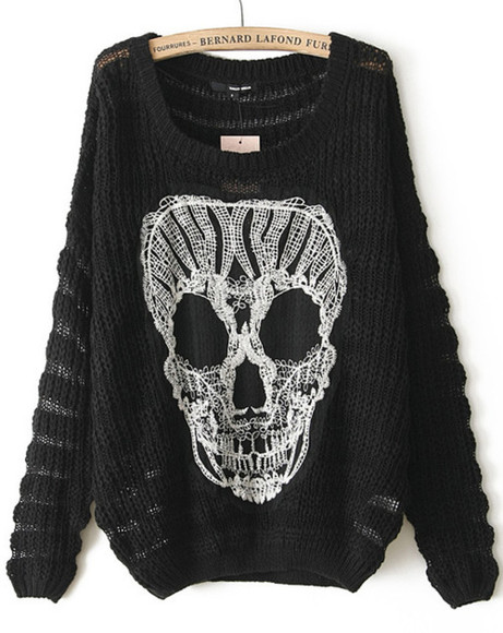 sweater jumper skull black sweater