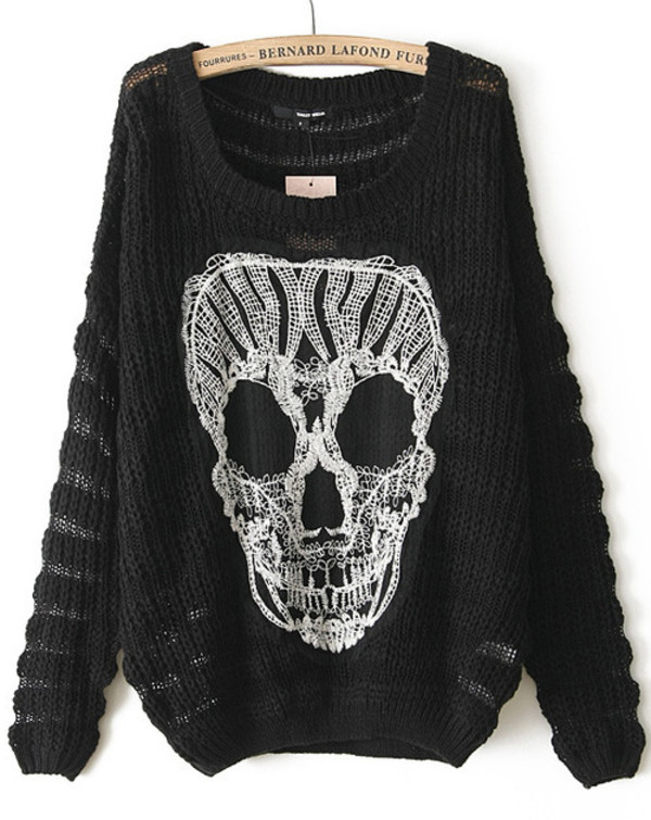 sweater skull jumper black sweater