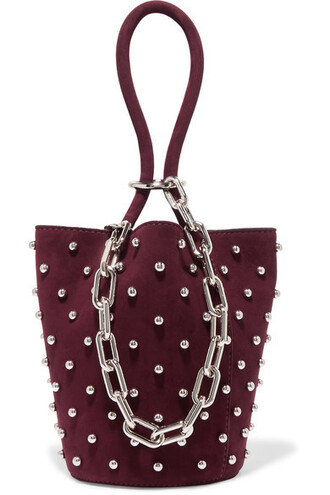 mini studded bag bucket bag suede plum