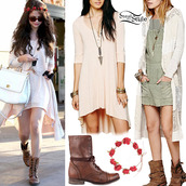 dress,combats,long knitted cardigan,selena gomez,sweater,hat,bag,shoes