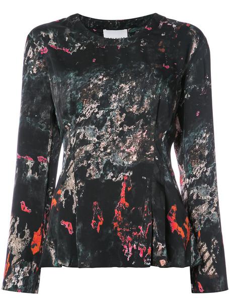 top printed top women spandex black silk