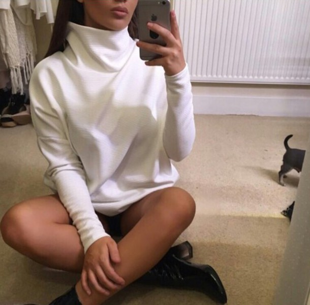 Sweater On Point Clothing Knitwear Knitted Sweater Knit White Long Sleeves Classy Boots ...
