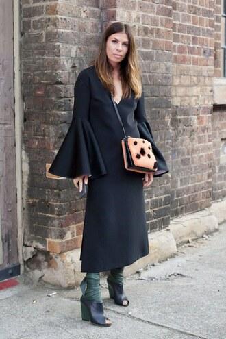 dress black bell sleeve dress orange bag black cutout ankle boots blogger