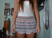 pants,shorts,pink,white tank top,zigzag,cute,High waisted shorts,forever 21,buy trends,silk