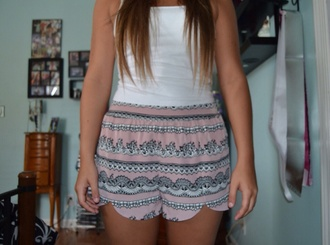 pants shorts pink white tank top zigzag cute high waisted shorts forever 21 buy trends silk