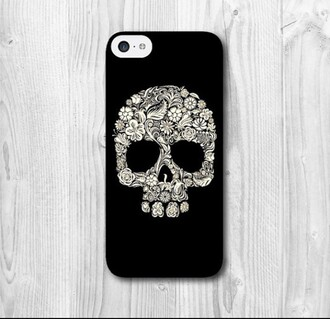 phone cover black white skull patterns plastic iphone 5c halloween accessory