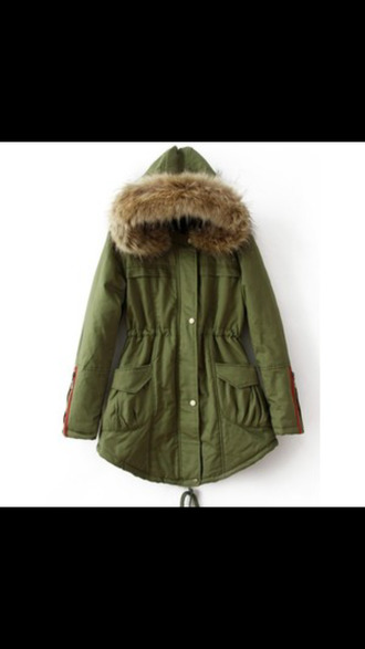 canvas green jacket fur hood