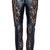 ROMWE | Lace Embellished Dual-tone Black Faux Leather Pants, The Latest Street Fashion