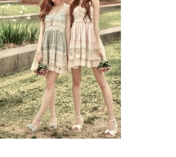 dress cute romantic lace summer pastell vintage