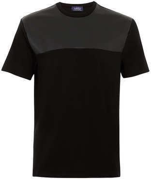 Topman T-shirt noir avec empiècement en simili cuir - ShopStyle