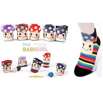 socks cotton women socks casual mushroom broad smile rainbow socks