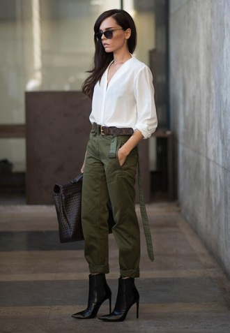 green pants black heel white shirt army green pants pointy toe heels
