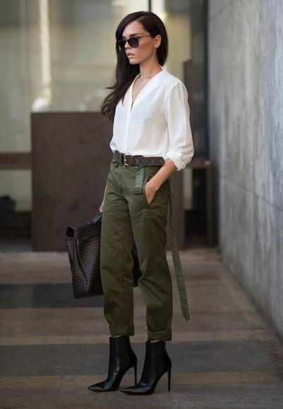 white shirt green pants black heel army green pants pointy toe heels
