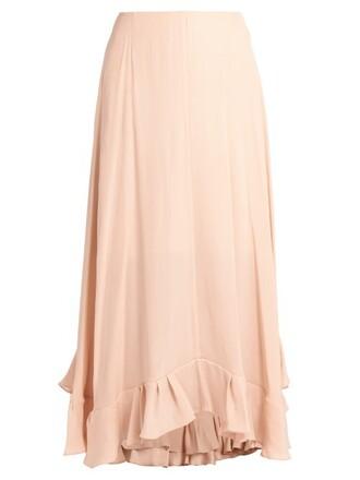 skirt midi skirt back midi satin light pink light pink