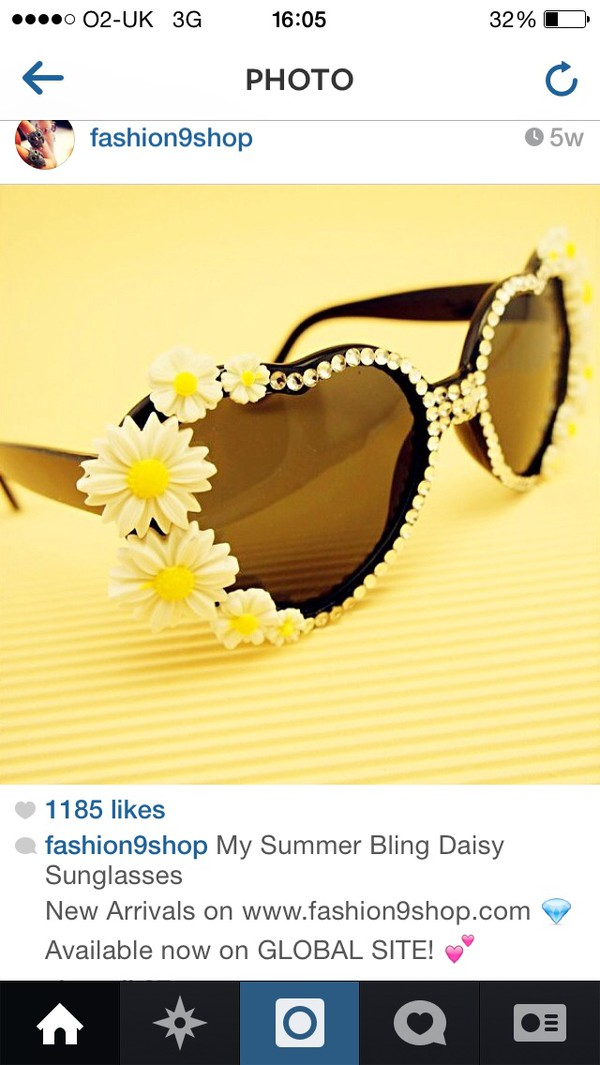 sunglasses daisy bling