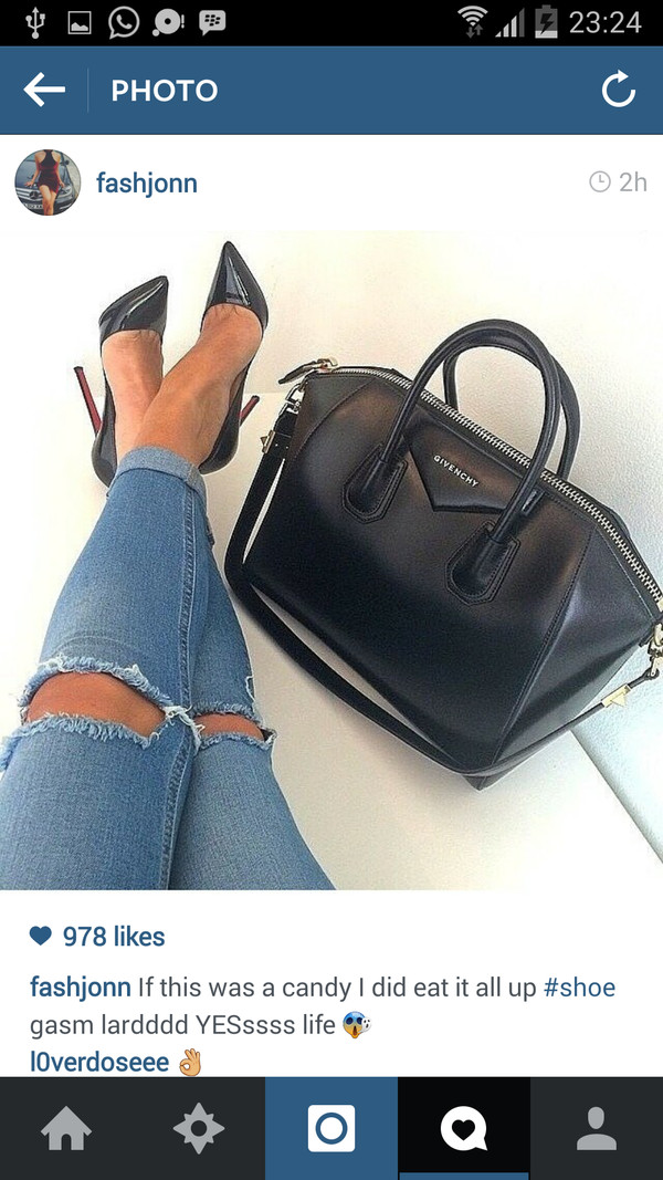 jeans bags 2014 cropped ripped denim heels shoes bag skinny jeans givenchy bag