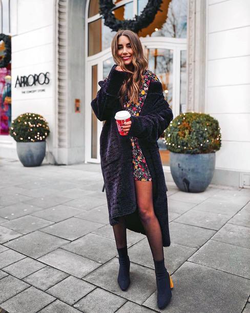 coat tumblr black coat oversized oversized coat dress mini dress floral floral dress boots sock boots