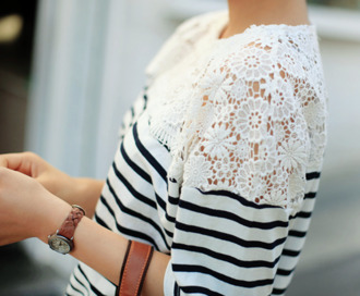 t-shirt top lace white cute fashion sweet blouse pretty shirt lace white shirt blue stripped shirt stripes blue striped shirt white lace blue white stripes laced tops shirt