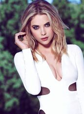 underwear,ashley benson,bodysuit,white bodysuit,mesh bodysuit,v neck,make-up,nude lipstick,lipstick,hairstyles