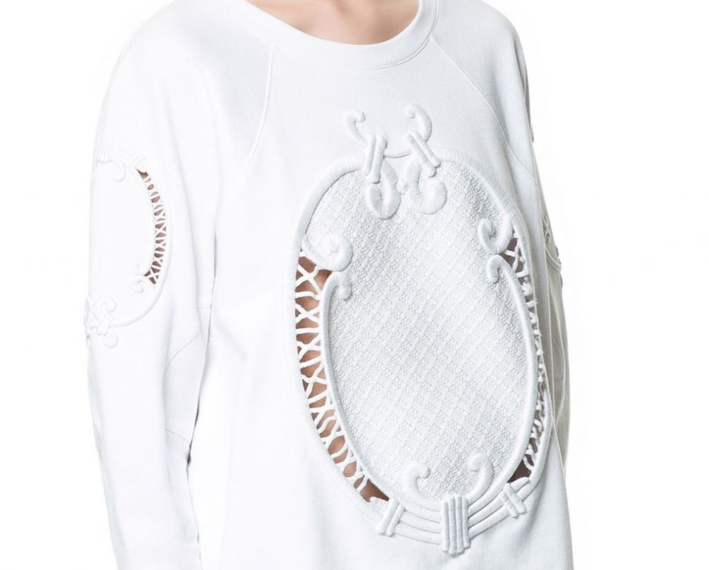 ZARA BLOGGERS WHITE SWEATER WITH EMBROIDERY SIZE SMALL,MEDIUM