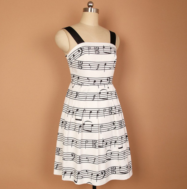 music music note black and white dress