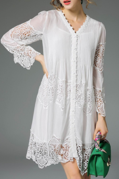 Lace Panel Pleated Dress