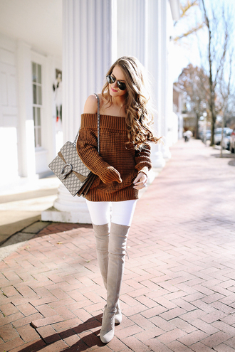 southern curls and pearls blogger sweater pants bag shoes sunglasses make-up off the shoulder sweater brown sweater shoulder bag thigh high boots over the knee boots grey boots fall outfits
