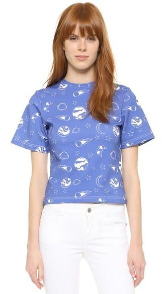 t-shirt shirt printed t-shirt blue top